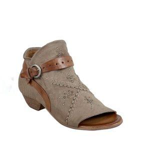 Miz Mooz Caitlin Leather Ankle Peep Toe Booties 7